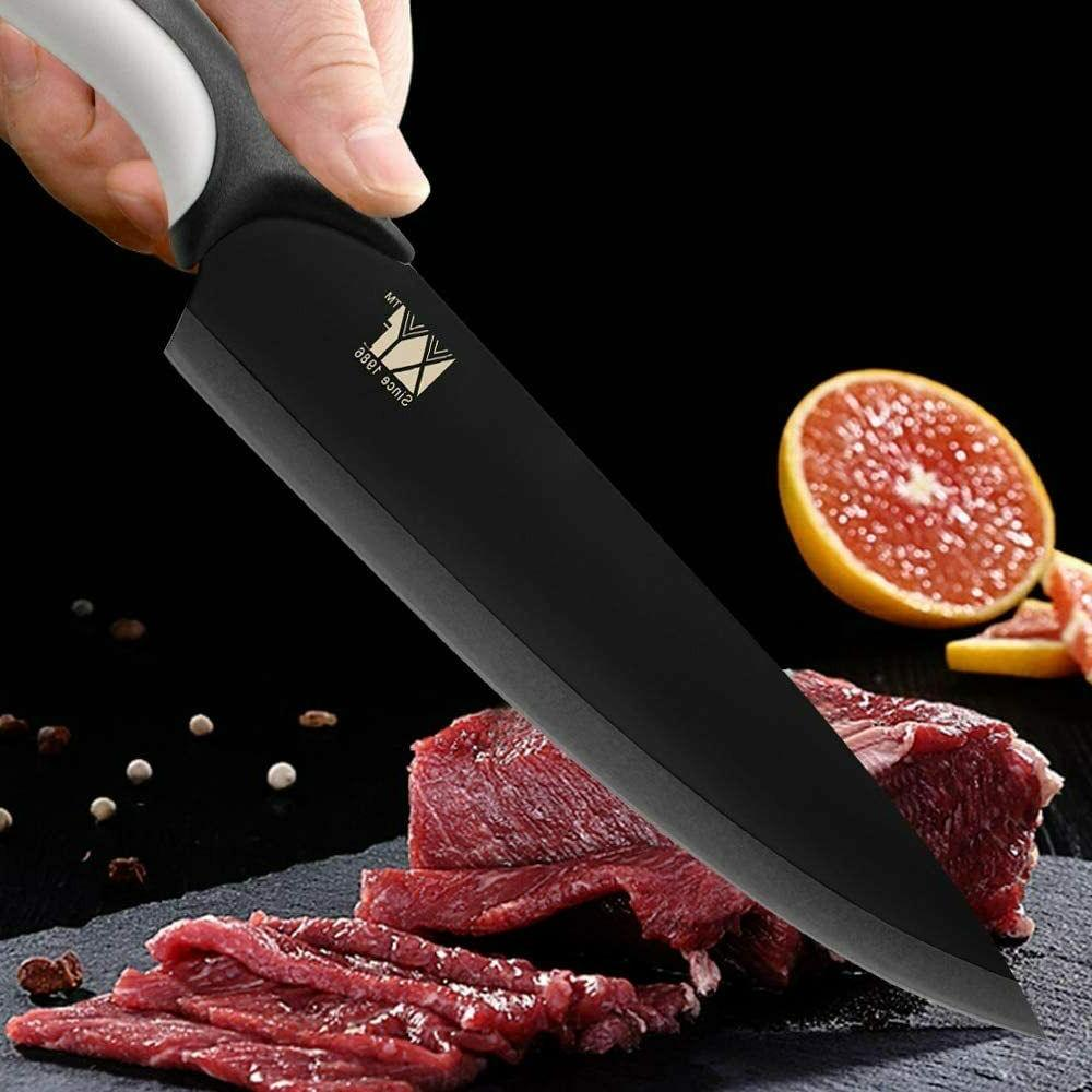 Japanese Santoku pcs Knife Black Blade Chef choice carving