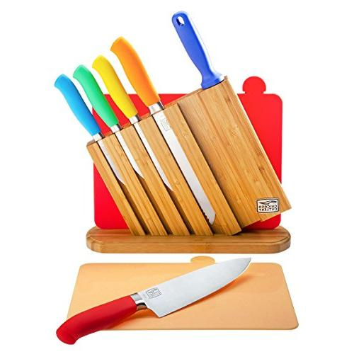 Chicago Cutlery Kinzie Piece Professional Kitchen Knife Sharpener, Cutting Board and Colorful Handles