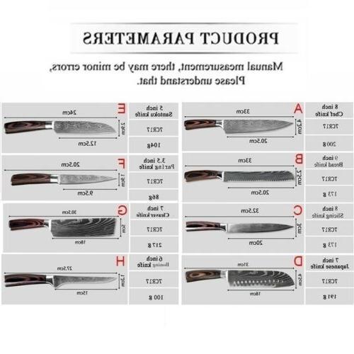 Kitchen Chef Damascus Pattern Knife 8Pcs