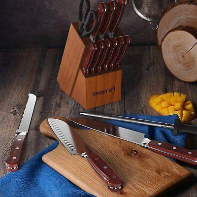 Homgeek Kitchen Kitchen Knife Set with Block Wooden,German