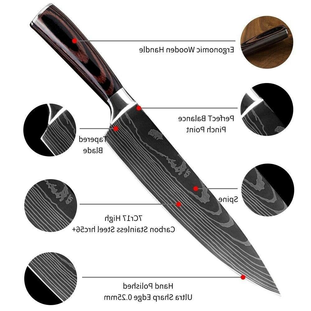 5 Piece Kitchen Knives Set Stainless Japanese Damascus