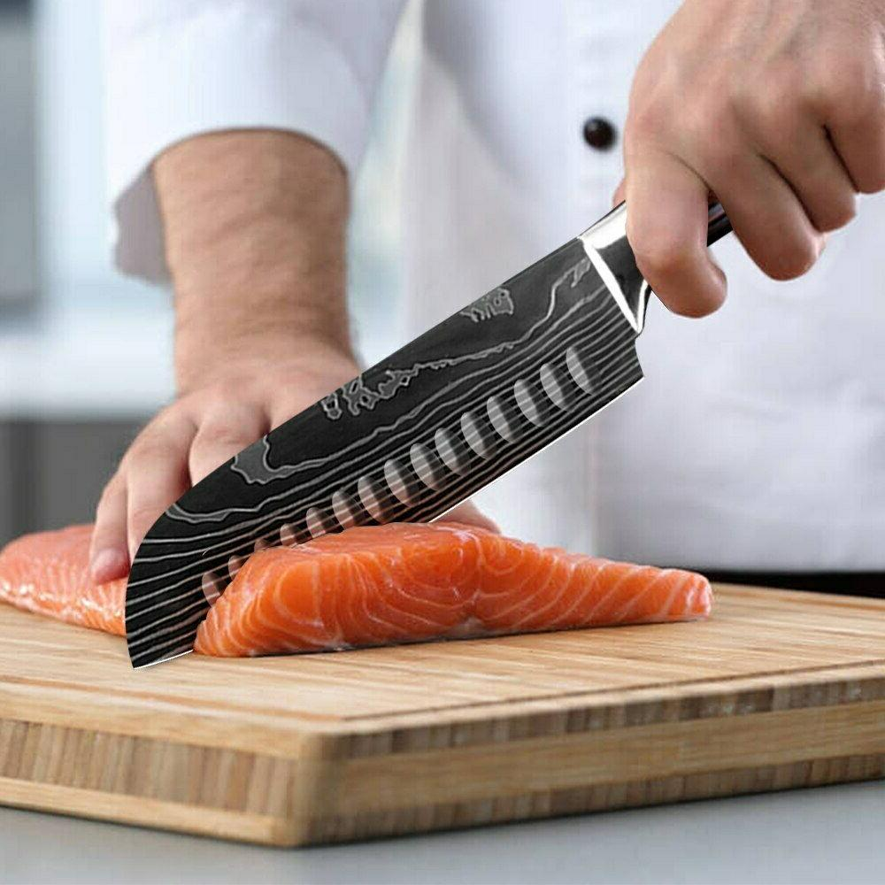 Japanese Set Damascus Carbon Stainless Steel Chef's Knife