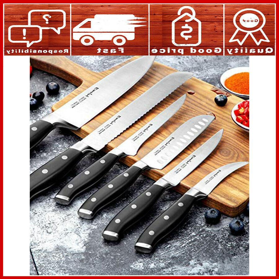 kitchen knife set with block wooden chef