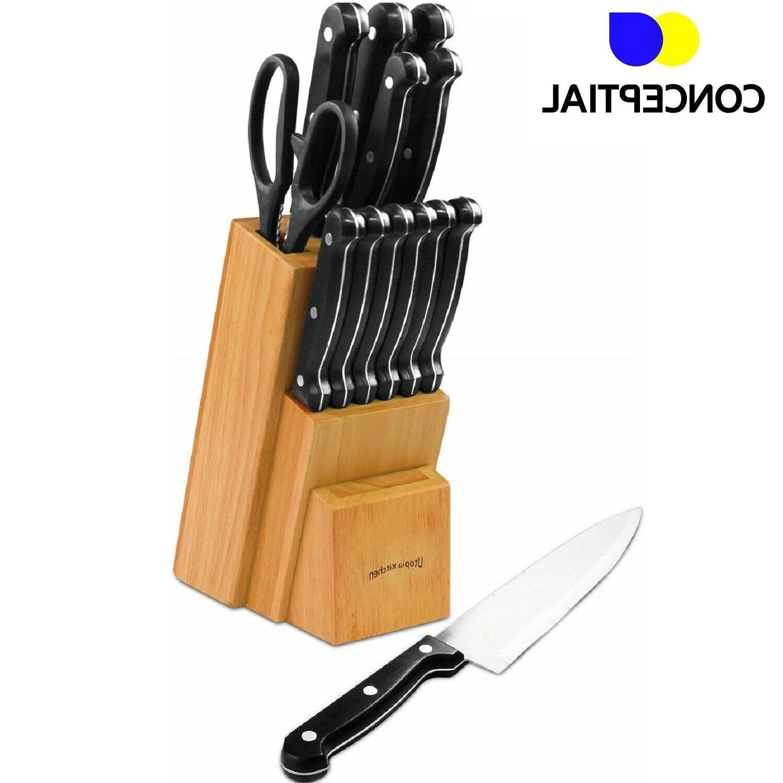 Knife Block Set Kitchen Utensils Steel Cutlery Stand 13 Pc