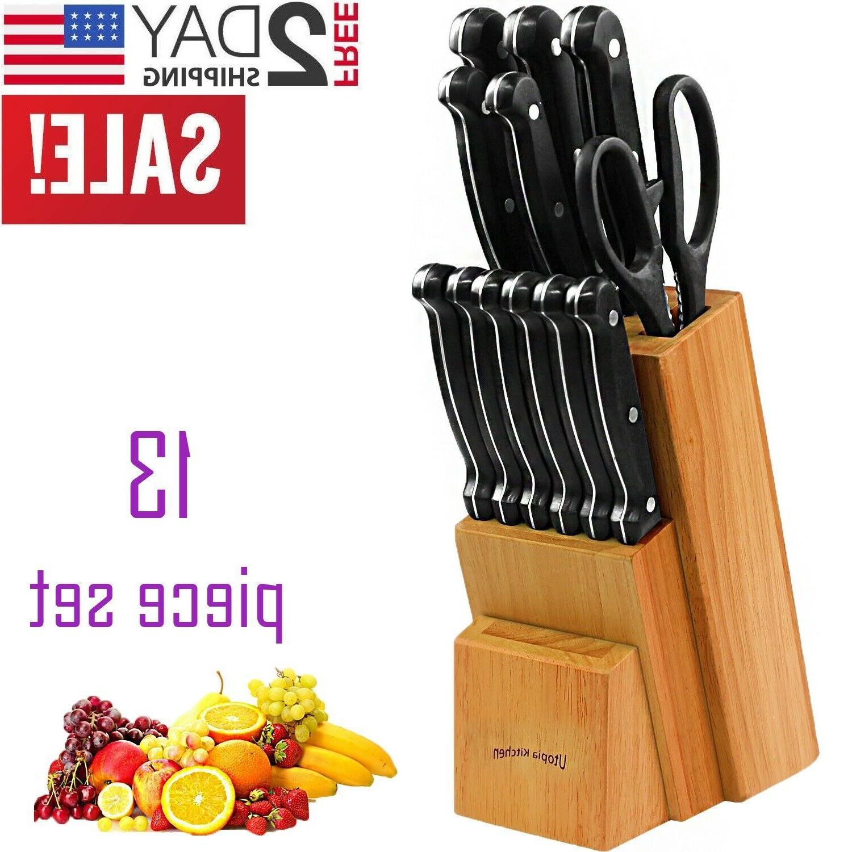 knife block set chef kitchen utensils stainless