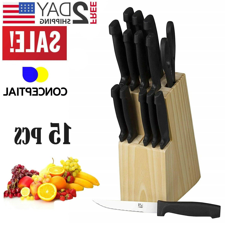 Knife Block Kitchen Sharpening Stainless Steel Steak Wood Cutlery Pc