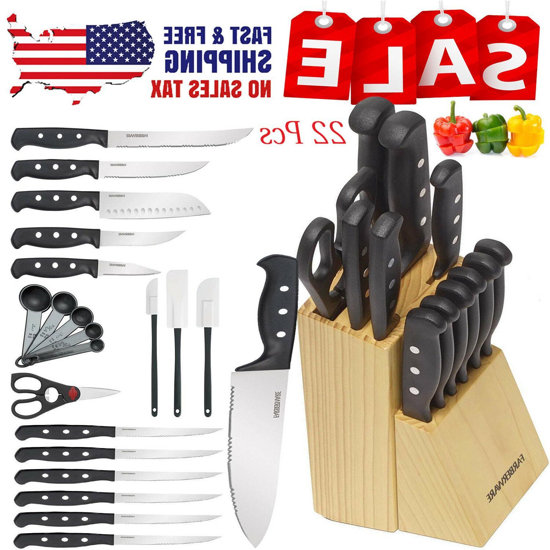 knife farberware set kitchen sharpening stainless steel
