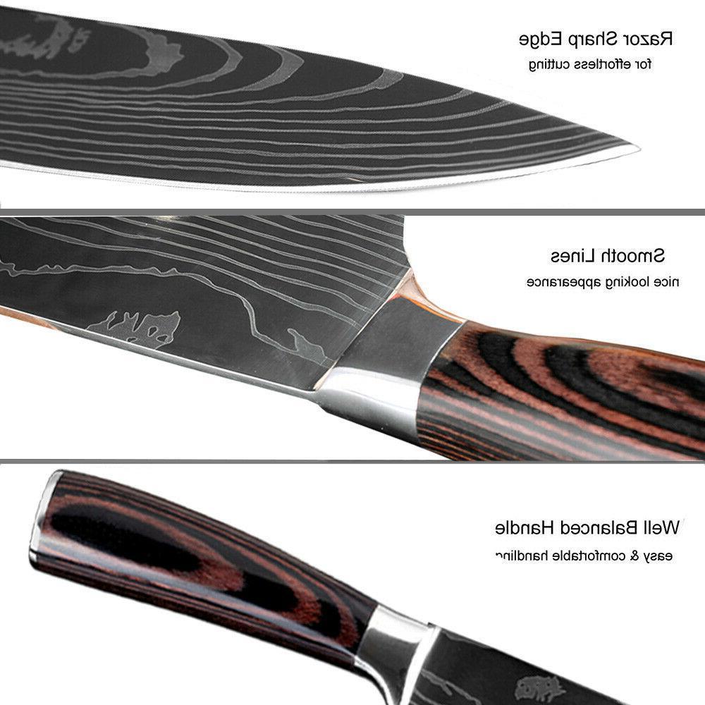 Kitchen Japanese Damascus Pattern Steel Cutting Knife