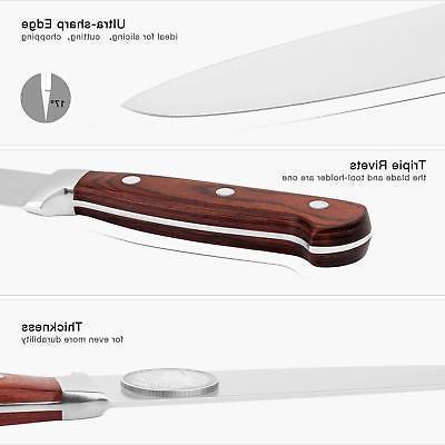 EMOJOY Knife Set 15 Pcs Steel W/ Block Kitchen