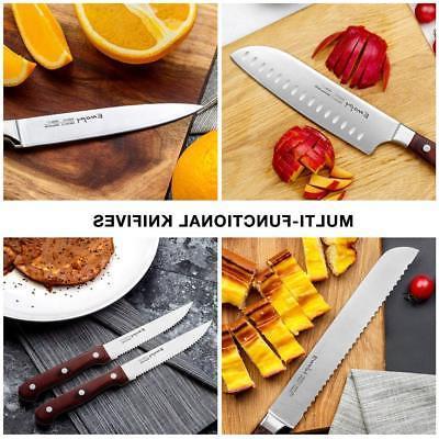 EMOJOY Set 15 Pcs German Stainless Steel W/ Block Wooden Kitchen NEW