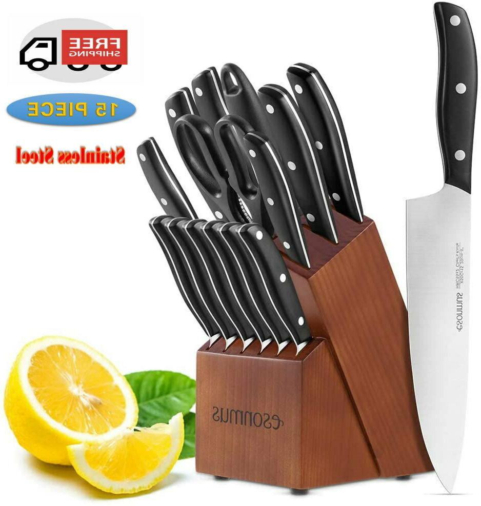 kitchen knife set 15 piece with block
