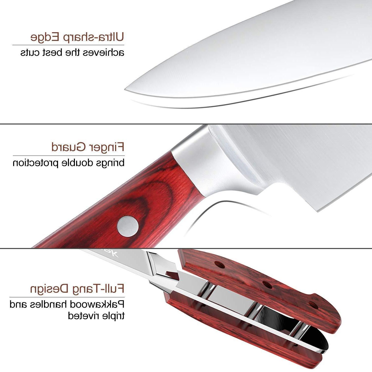 Knife 15-Piece Kitchen Knife Wooden Stainless