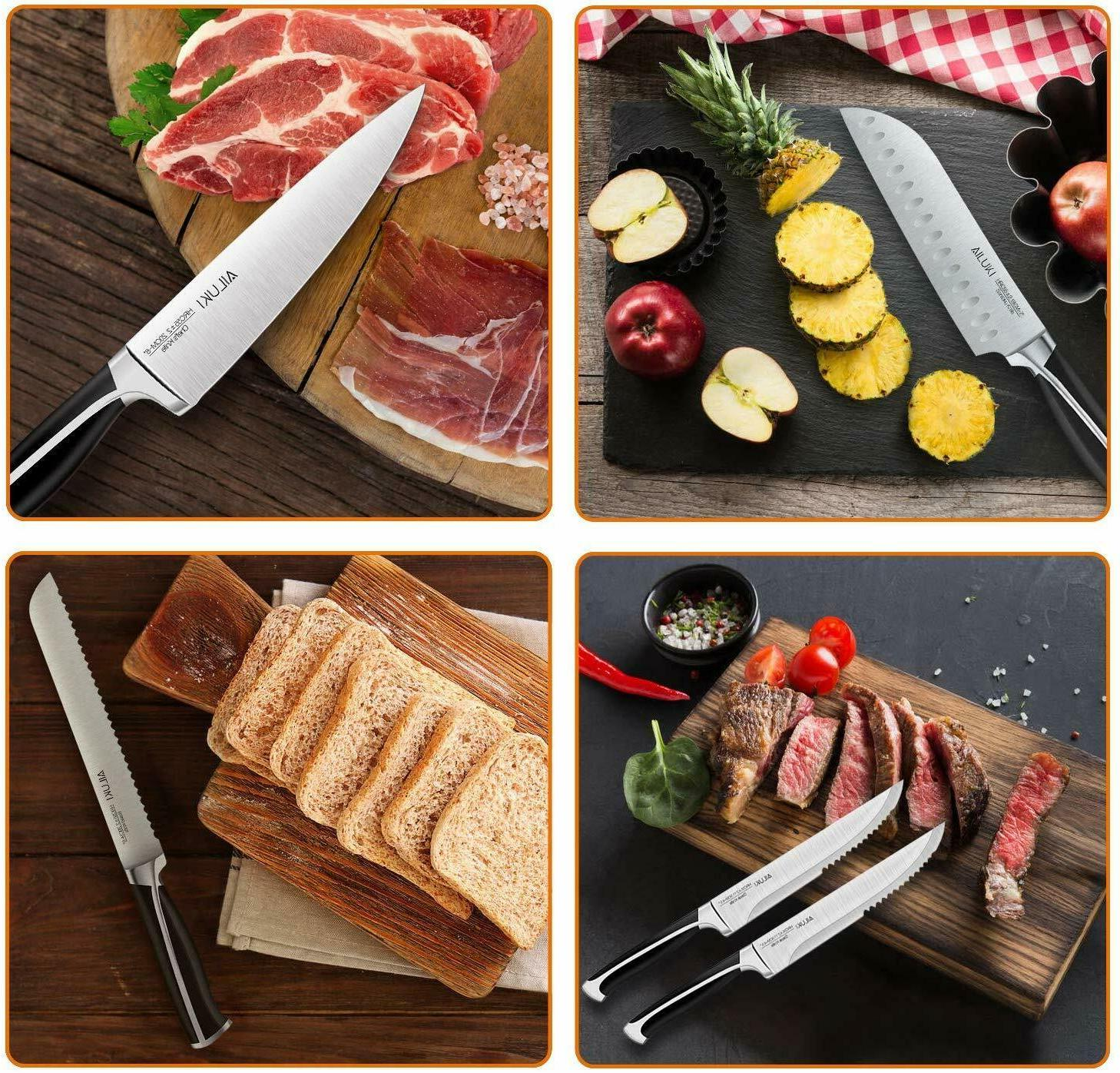 Knife Set, 19-Piece Knife Wooden German