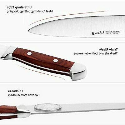 Emojoy Set, Piece Kitchen Knife with Block Wooden, Knife Set...
