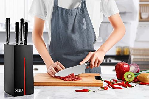 Knife Set, Modern Stainless Steel Knife Block 6 Professional Kitchen Cutlery with Ergonomic Handle Full Tang Design,