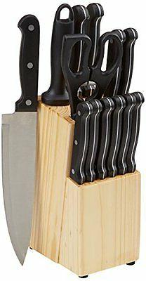 Amazonbasics 14-Piece Knife Set W/ Block Chefs Cutlery Kitch