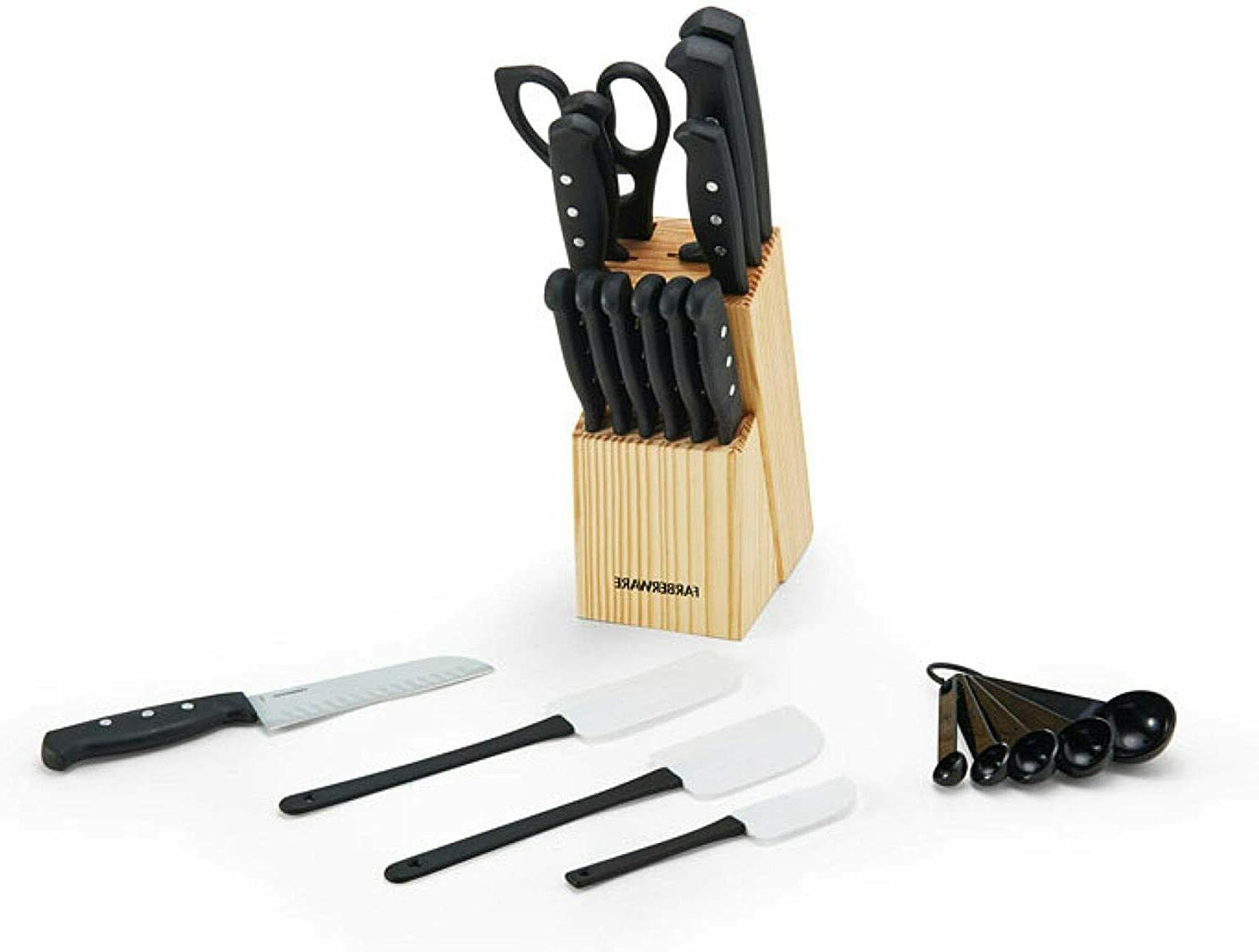 Knife Set With Block Kitchen Stainless Steel Sharpening Cutl