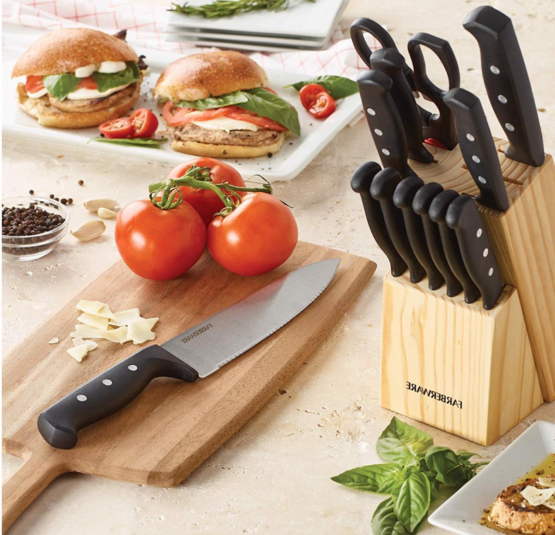Knife Set Block Kitchen Steel Cutlery Knives