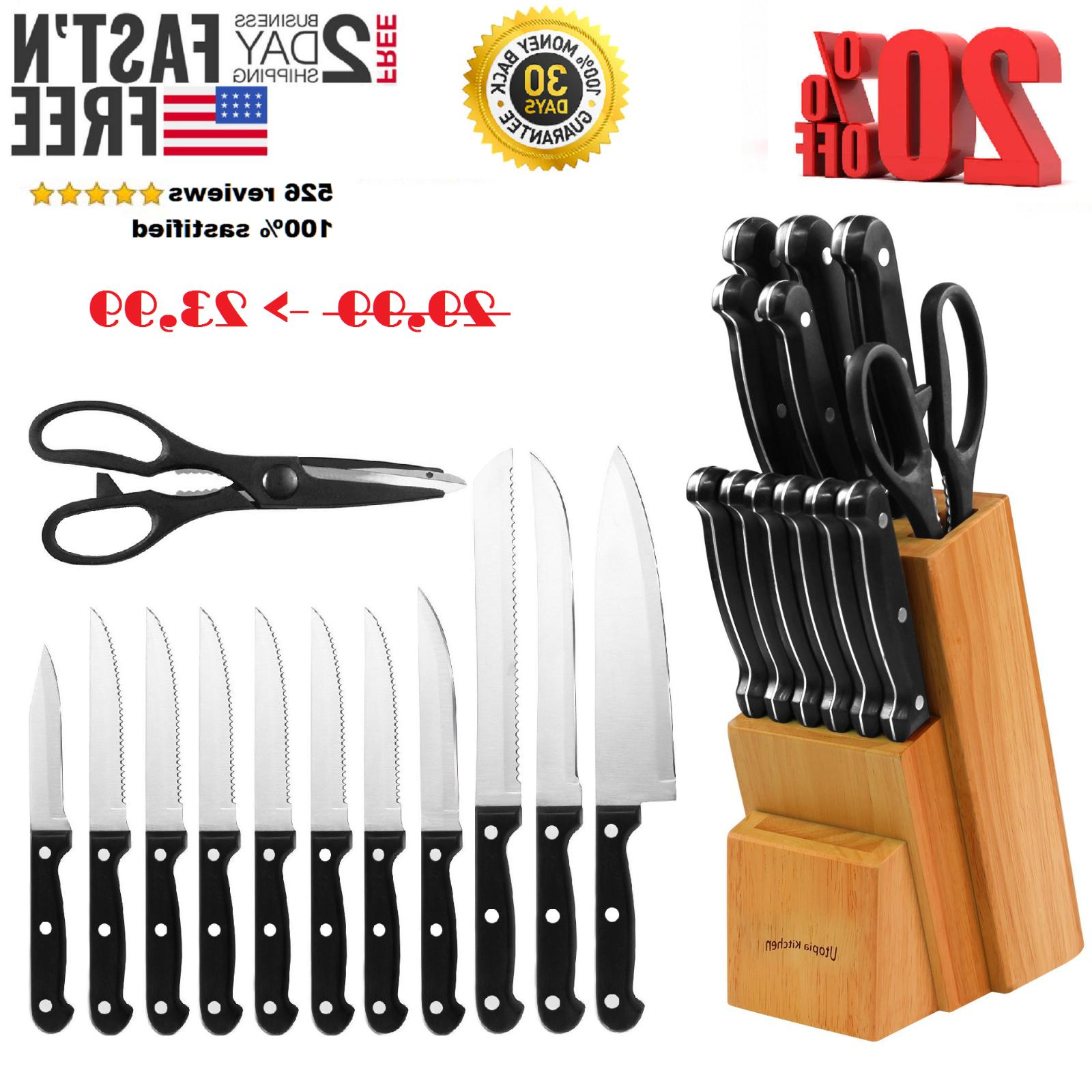 Knife Utopia Block Set Kitchen Sharpening Stainless Steel St
