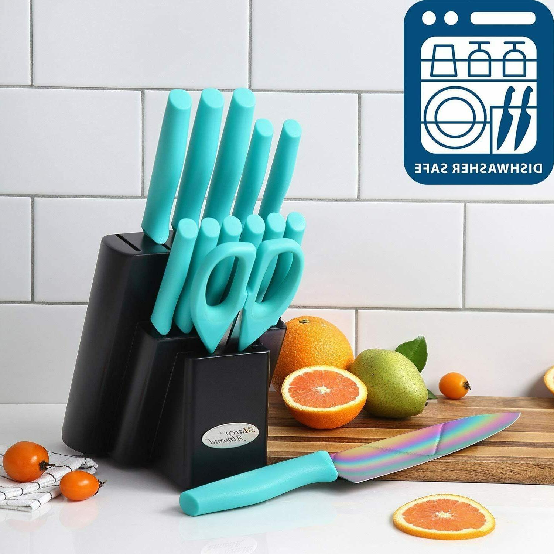 Marco Almond Titanium Knife Set Cutlery Block Quality