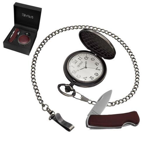 New Men's August Steiner AS8145GN Quartz Brown Pocket Watch