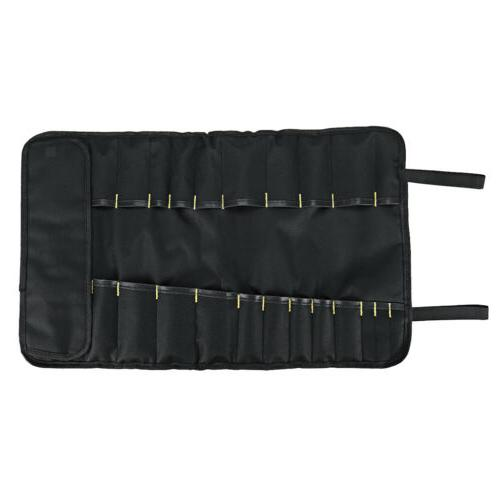 Portable Chef Knife Roll Bag 22 Pocket Black Cooking Cutlery