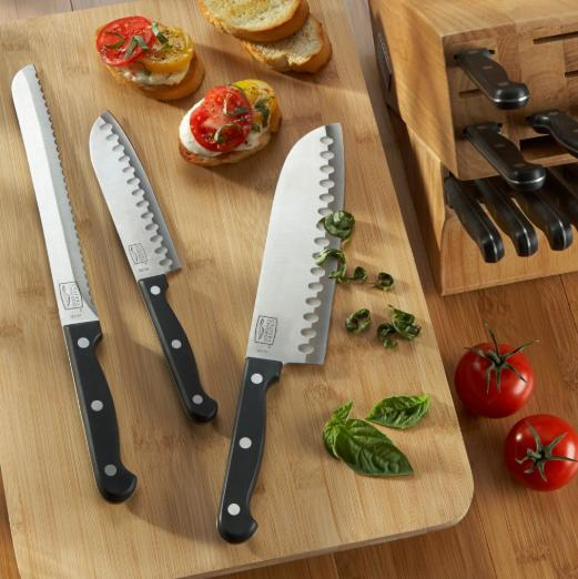 Professional Kitchen Steel Set With Block Wooden