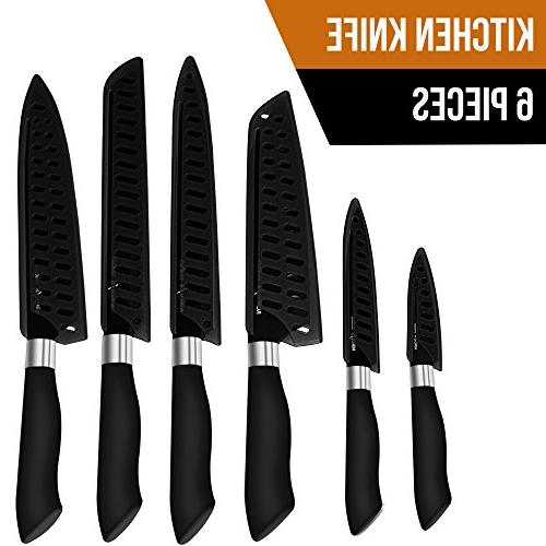 Utopia Kitchen Knife Set Black Blades – Rust Stainless Non-Stick Rubberized Multipurpose Knife
