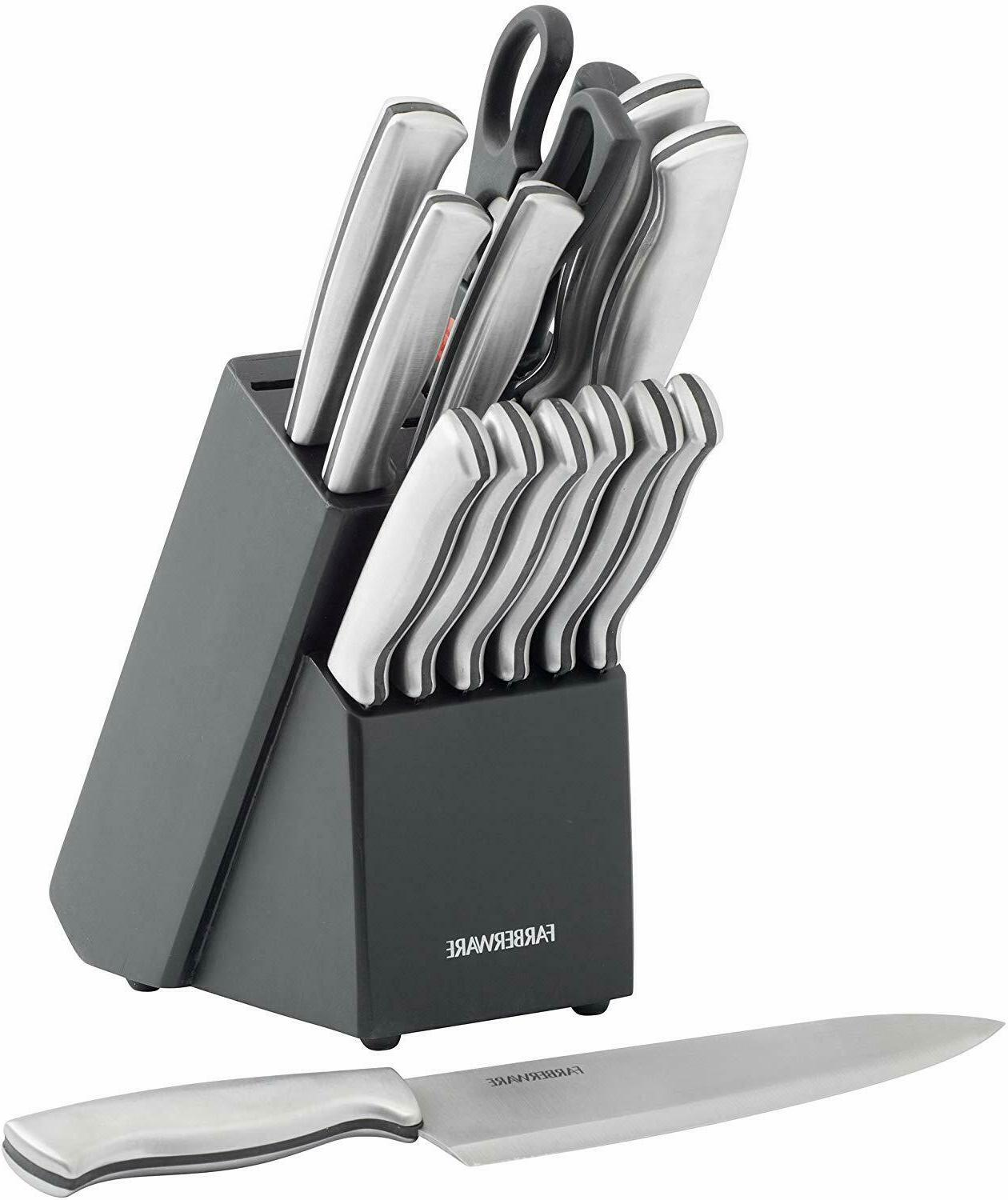 Stainless Steel Kitchen Knives Cutlery Block Set Knife 15PC