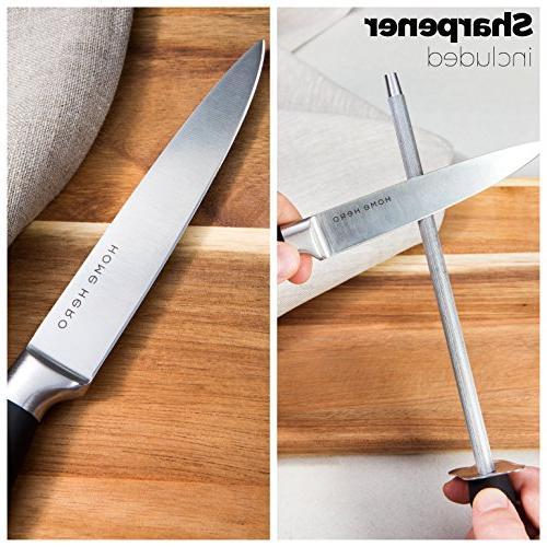 Stainless Steel with Block Kitchen Knife Sharpener, Knives, Bonus Peeler Scissors Pizza & Acrylic Stand - Set