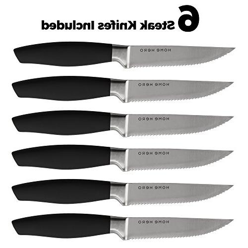 Stainless with Kitchen Knives Knife Set Knife Sharpener, 6 Steak Bonus Peeler Pizza Knife & Stand - Best Cutlery Set