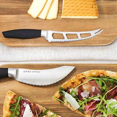 Stainless with Kitchen Knives Set Knife Set with Knife Sharpener, 6 Steak Pizza Knife Stand Set Gift
