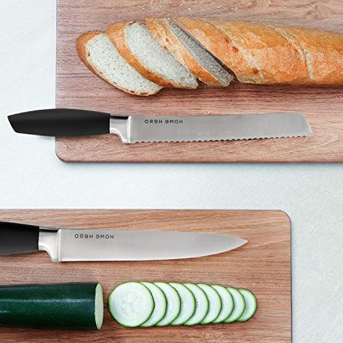 Stainless with Block - Knife Set Sharpener, 6 Steak Bonus Peeler Scissors Cheese Pizza Knife Acrylic Stand Set