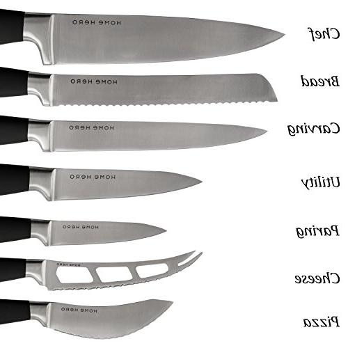 Stainless Knife Set with - Kitchen Knives Set Knife Set Sharpener, 6 Steak Knives, Bonus Peeler Scissors Cheese Pizza Acrylic Stand - Cutlery Set Gift
