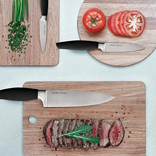 Stainless Steel with Block - Kitchen Set Chef Knife Set with Knife Sharpener, Bonus Peeler Cheese Pizza Knife Stand - Best Cutlery Set Gift