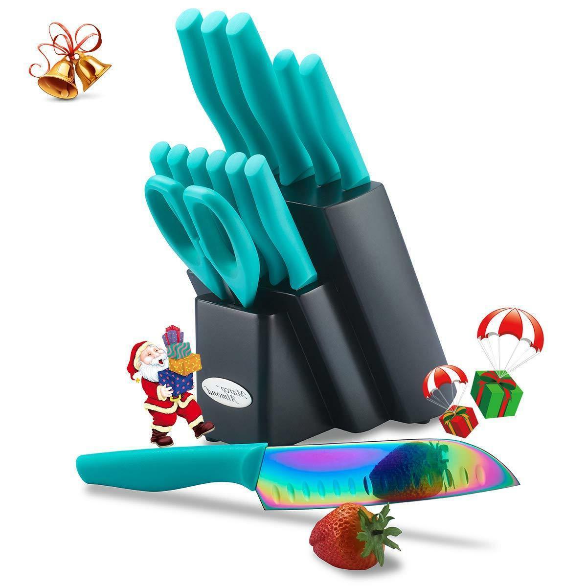 rainbow titanium knife set cutlery wooden block