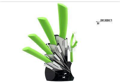 """Ultra White Ceramic Kitchen Knife Set 3"""" peeler holder"""