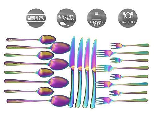 Set 20 by | Silverware Sets Steel Dinnerware Set Utensils For 4 | Rainbow with Fork, Spoon, Fork