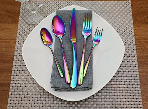 Beautiful Unique Flatware Set Silverware Sets Steel Dinnerware Set Utensils For Rainbow Fork, Spoon,