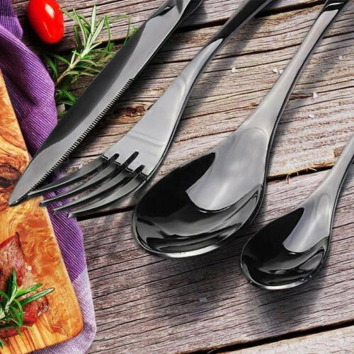 upscale black stainless steel knife fork spoon