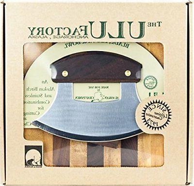 walnut plain handle ulu knife set made