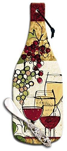 CounterArt Wine Bottle Shaped Wine Not Glass Cheese Board wi