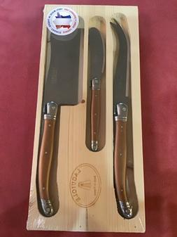 Laguiole CHEESE KNIFE SET 3 Pc: FORK CLEAVER SPREADER Charcu