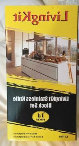 LivingKit Stainless Steel Kitchen Knife Block Set NIB 14 Pie