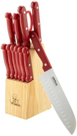Masterchef 13-Piece Knife Set with Block, Red