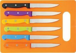 Unbranded/Generic MI214 Steak Knife Set Multi Colored Handle