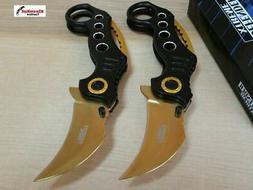 NEW 2 Pc Spring Assisted BLACK GOLD KARAMBIT Folding Knife S