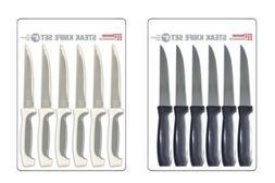 "Home Basics NEW 6PC 6 Piece 9"" Steak Knife Set in Black or W"