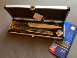 "NEW BergHOFF Carving Set 8"" Knife 6"" Fork PAKKA WOOD Handle"