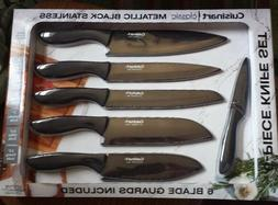 New ! Cuisinart Black Metallic Knife Set, 6-piece Nice Gift